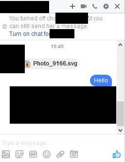 Malicious Facebook SVG Message