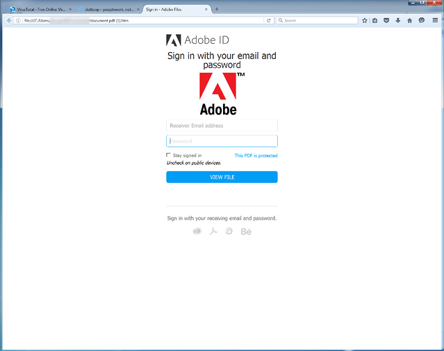 Fake Adobe Login
