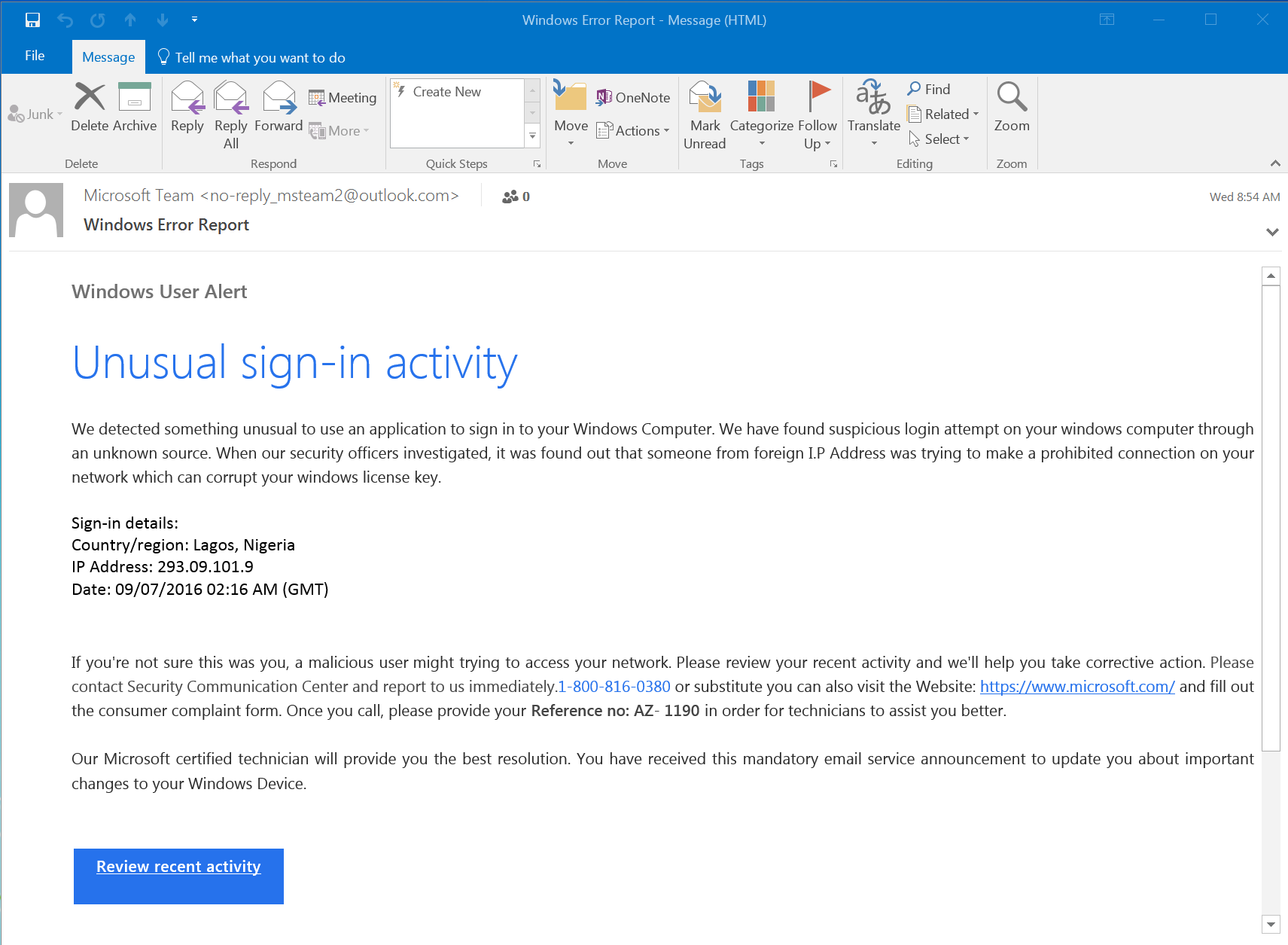 Malicious Windows Warning Email