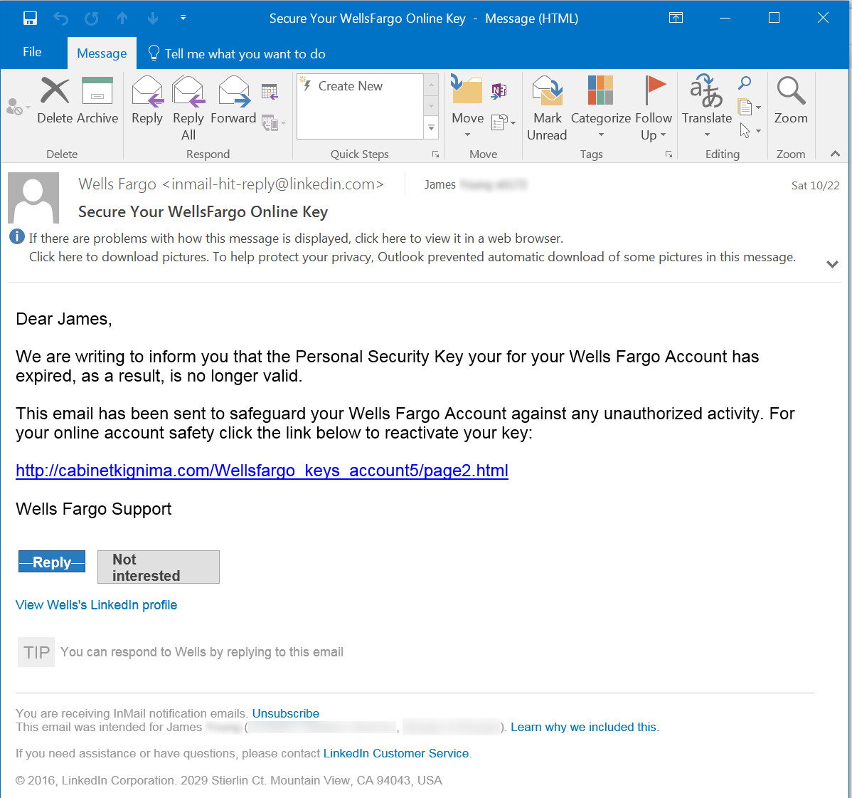 LinkedIn Email Phish Screenshot