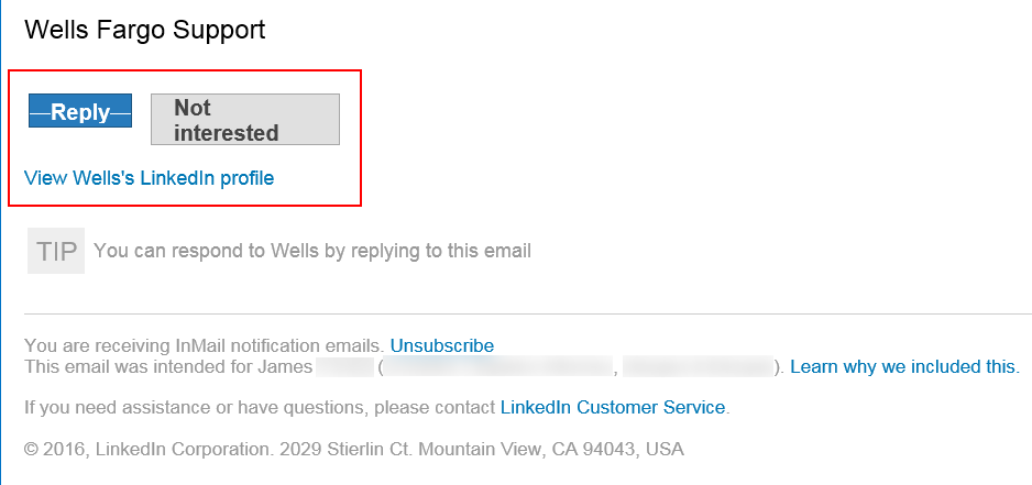 Wells Fargo LinkedIn Phishing Email Screenshot