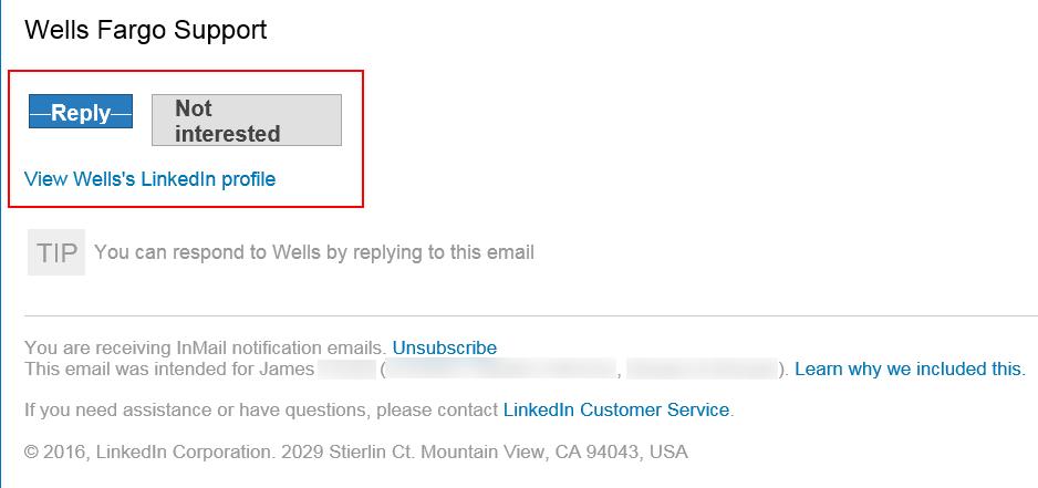 Wells Fargo LinkedIn Phishing Email Screenshot